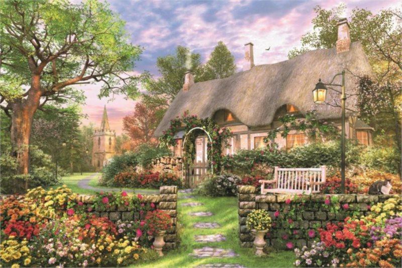Puzzle JUMBO 18367 Prosluněná chata 1500 dílků