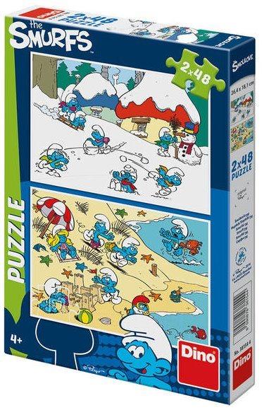 Puzzle DINO - Šmoulové 2x48 dílků