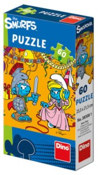 Dětské puzzle DINO 383081-5 Šmoulové: Karneval 60 dílků
