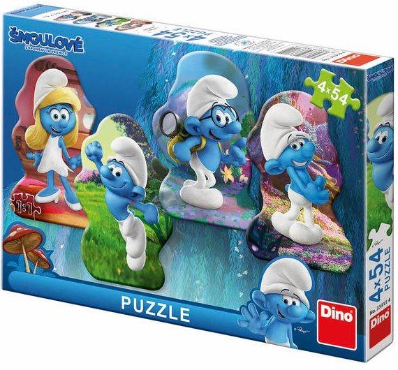Obrysové puzzle DINO 333154 Šmoulové: Zapomenutá vesnice 4x54 dílků
