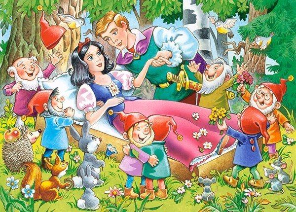 Dětské puzzle 35 dílků - Sněhurka a sedm trpaslíků