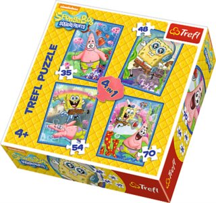TREFL Puzzle pro děti 4v1 - SpongeBob v kalhotách (35,48,54,70 dílků)