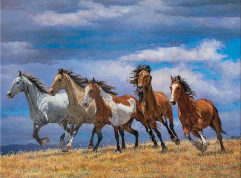 Puzzle EUROGRAPHICS Stádo koní běžící přes vrchol 1000 dílků