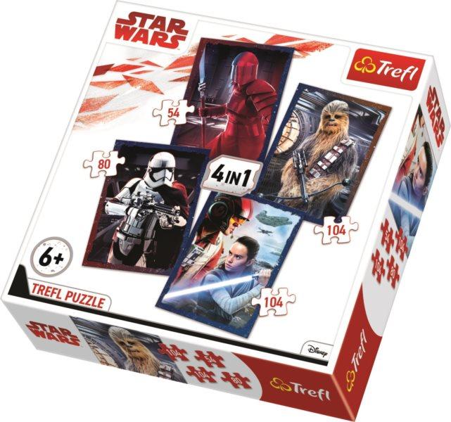 TREFL Puzzle Star Wars: Poslední z Jediů 4v1 (54,80,104,104 dílků)