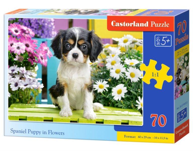 CASTORLAND Puzzle Štěně kavalír king charles španěla v květinách 70 dílků