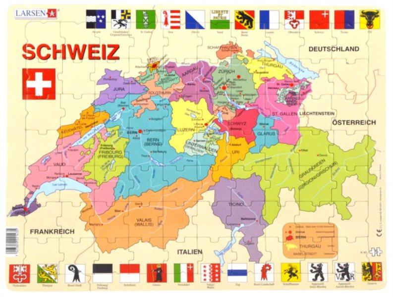 LARSEN Puzzle Švýcarsko - politická mapa (německy) 70 dílků