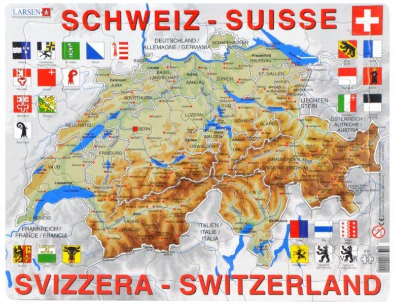 LARSEN Puzzle Švýcarsko - zeměpisná mapa (německy) 75 dílků