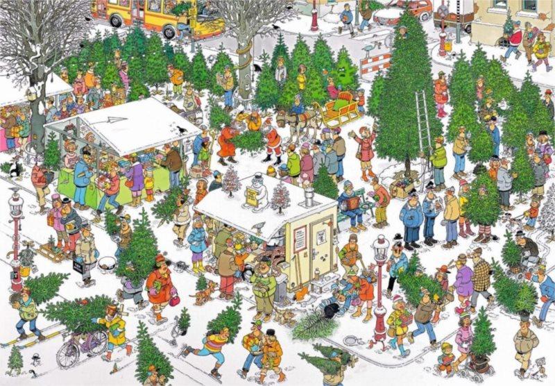 JUMBO Puzzle Trh s vánočními stromky 2000 dílků