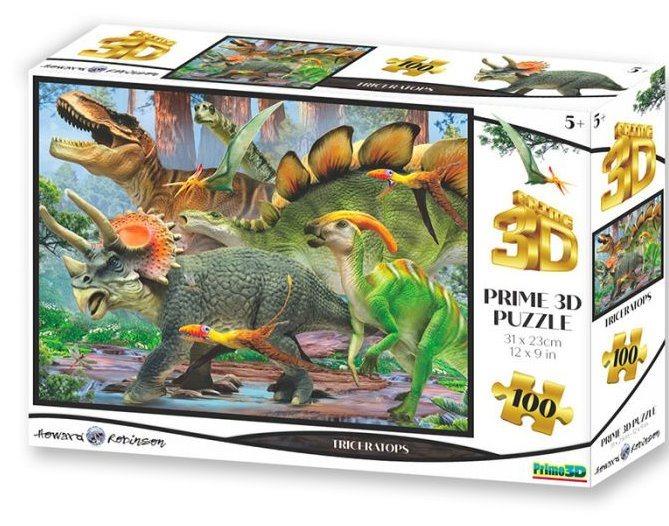 PRIME 3D Puzzle Triceratops 3D 100 dílků