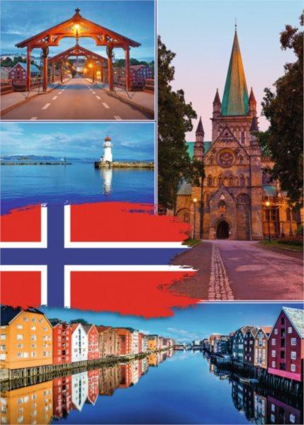 RAVENSBURGER Puzzle Trondheim koláž, Norsko 1000 dílků