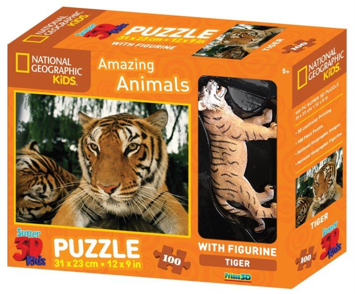 PRIME 3D Puzzle Tygr 3D 100 dílků + figurka