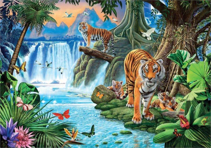 Puzzle CLEMENTONI 1500 dílků - Tygří rodina