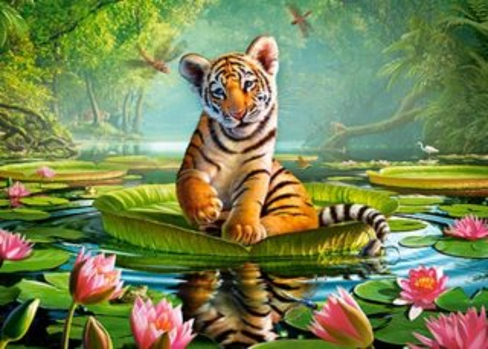 CASTORLAND Puzzle Tygřík na leknínu 120 dílků