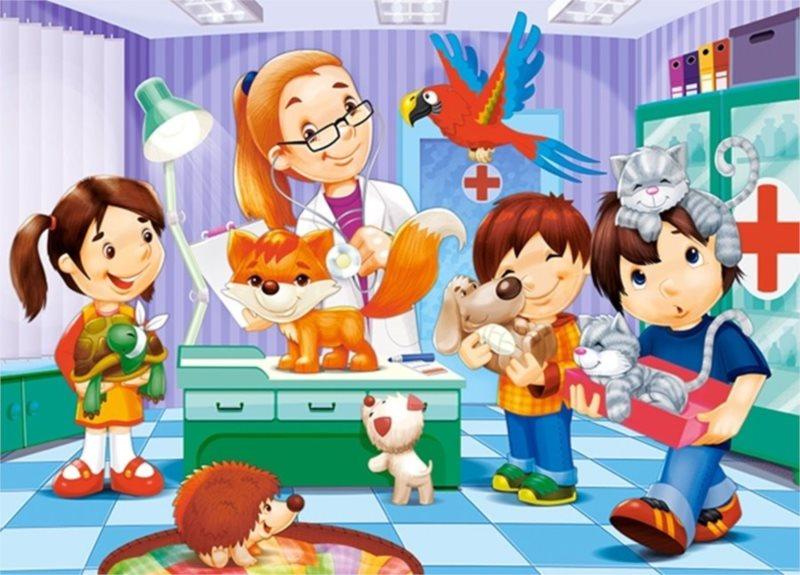 CASTORLAND Puzzle U veterináře 60 dílků