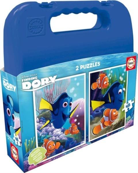 EDUCA Puzzle v kufříku Hledá se Dory 2x48 dílků