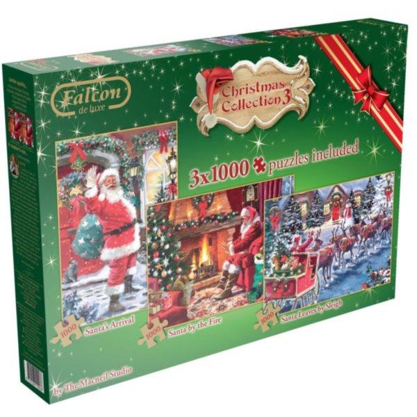 FALCON , JUMBO Puzzle Vánoční kolekce 3: Santa Claus 3x1000 dílků