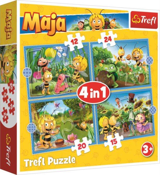 TREFL Puzzle Včelka Mája: Dobrodružství 4v1 (12,15,20,24 dílků)