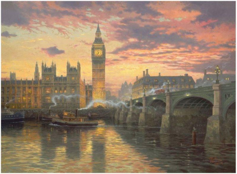 Puzzle SCHMIDT 1000 dílků - T. Kinkade, Večerní nálada v Londýně
