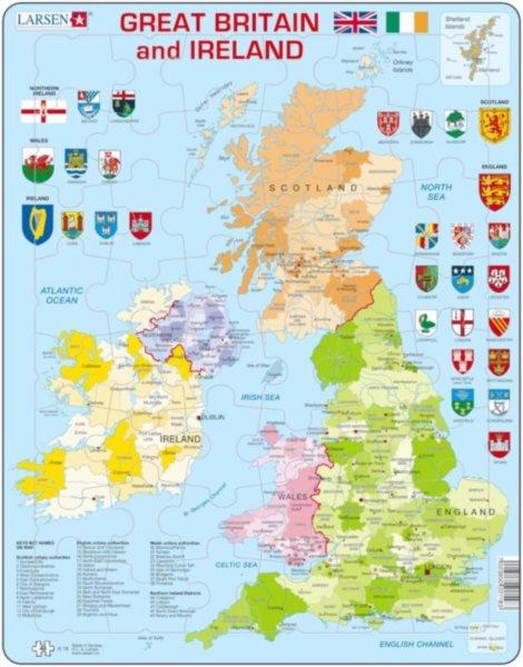 LARSEN Puzzle Velká Británie a Irsko - politická mapa 48 dílků