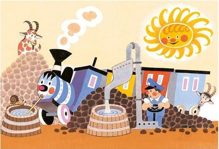 Dětské puzzle DINO 24 dílků - Veselá mašinka v depu