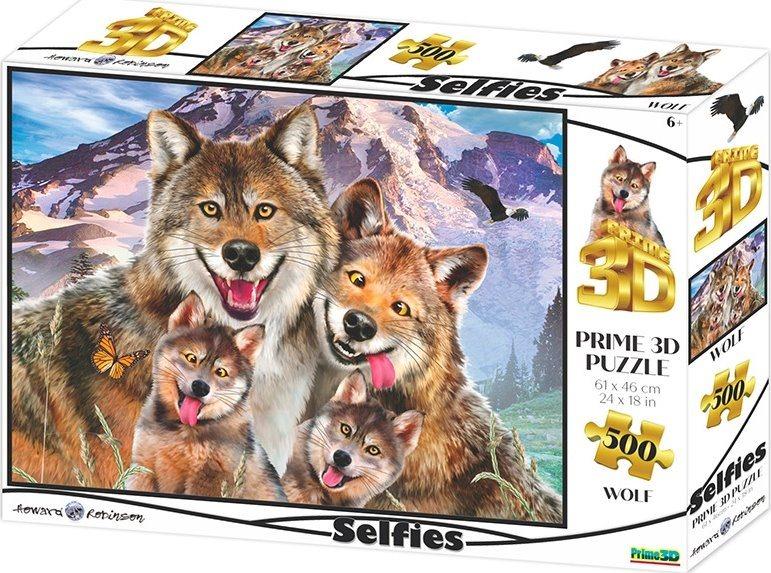 PRIME 3D Puzzle Vlčí selfie 3D 500 dílků