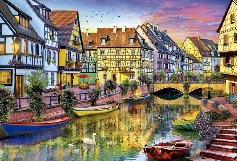 EDUCA Puzzle Vodní kanál v Colmar, Francie 4000 dílků