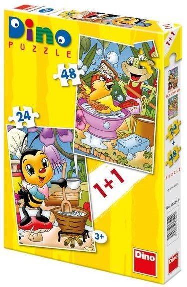 Dětské puzzle DINO - Žabák a včelka 24+48 dílků
