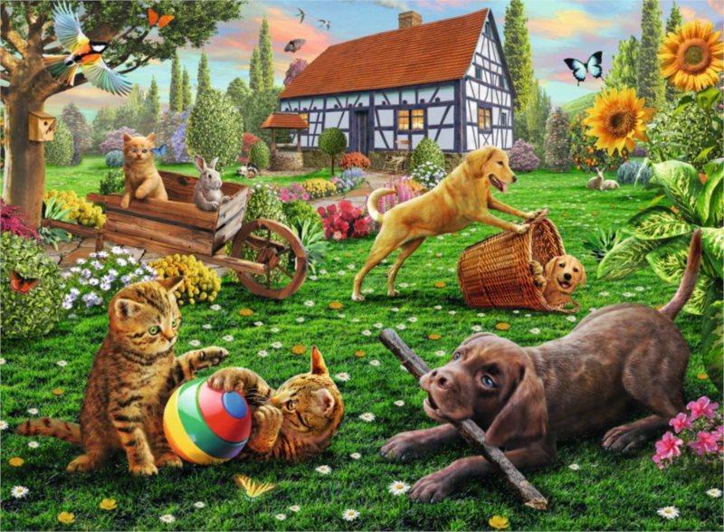 RAVENSBURGER Puzzle Hrátky na zahradě XXL 200 dílků