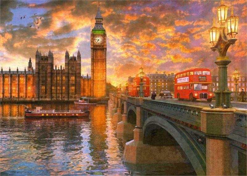 RAVENSBURGER Puzzle Západ nad Westminsterem 1000 dílků