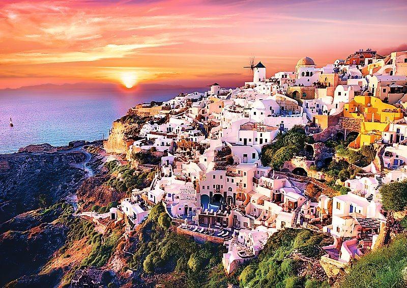 Puzzle TREFL 1000 dílků - Západ slunce nad Santorini, Řecko