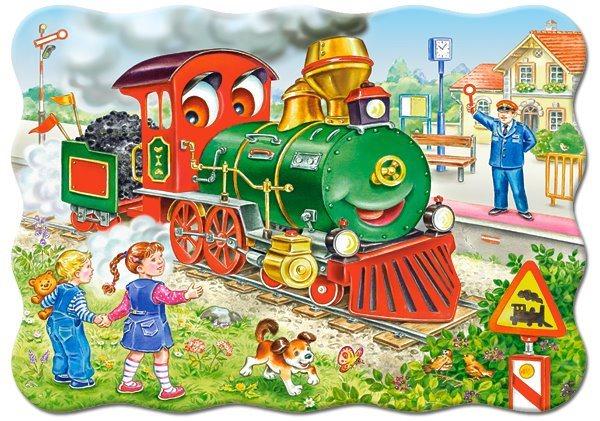 Puzzle CASTORLAND 03433 Zelená lokomotiva 30 dílků