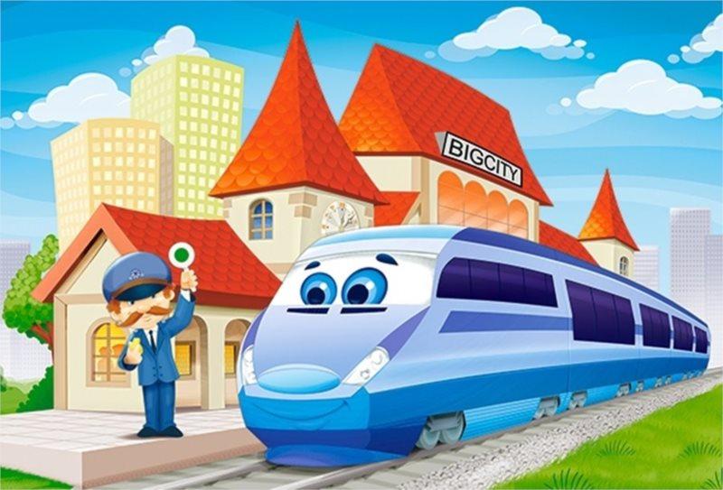 CASTORLAND Podlahové puzzle pro děti 40 dílků - Železniční stanice