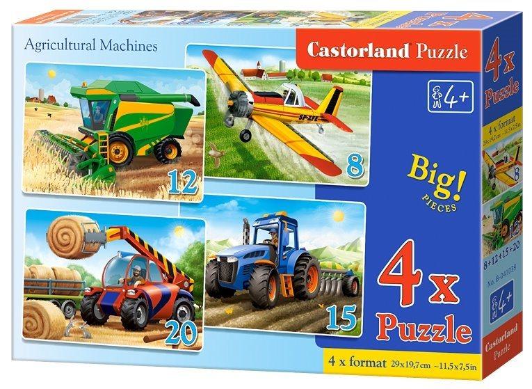 CASTORLAND Puzzle Zemědělské stroje 4v1 (8,12,15,20 dílků)