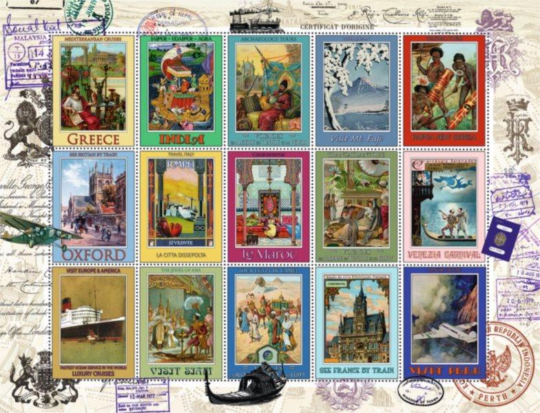 RAVENSBURGER Puzzle Známky z dovolené 2000 dílků