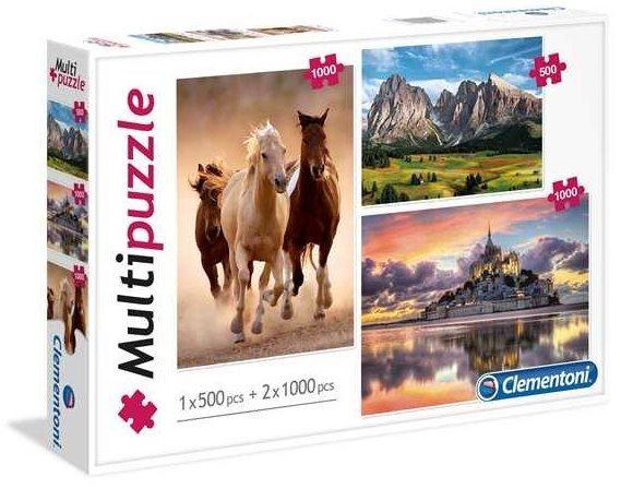 CLEMENTONI Puzzle Majestátnost 2x1000+500 dílků