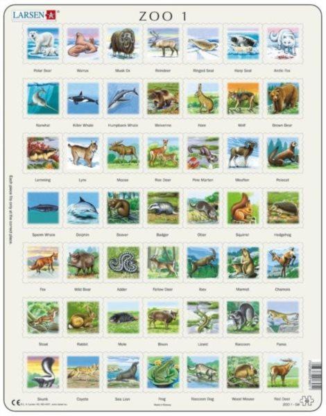 LARSEN Puzzle Zvířata severní polokoule (anglicky) 49 dílků