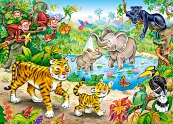 CASTORLAND Puzzle Zvířata v džungli 120 dílků
