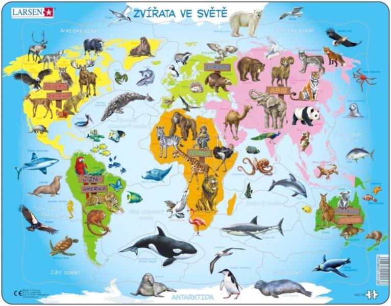 LARSEN Puzzle Zvířata ve světě 28 dílků