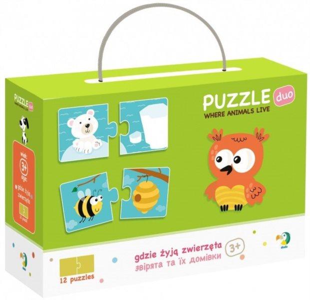 DODO Puzzle Zvířátka a jejich obydlí 12x2 dílků