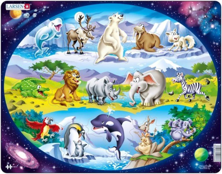 LARSEN Puzzle Zvířátka ve světě 15 dílků