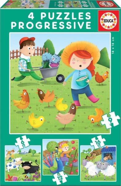 EDUCA Puzzle Zvířátka z farmy 4v1 (6,9,12,16 dílků)