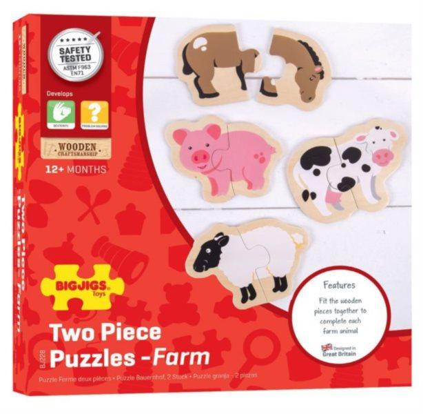 BIGJIGS Puzzle Zvířátka ze statku 4x2 dílky