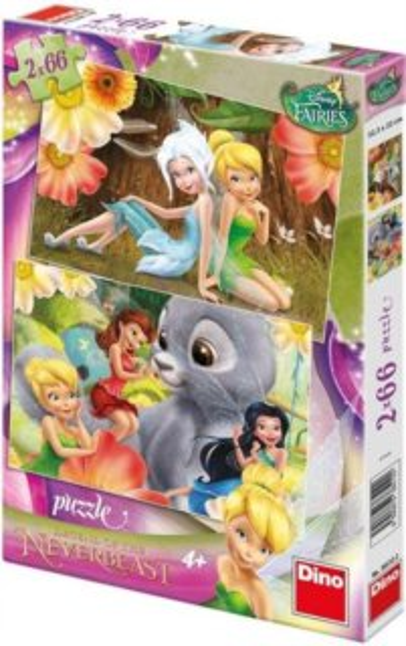 Dětské puzzle DINO 2x 66 dílků - Zvonilka a tvor netvor 2v1