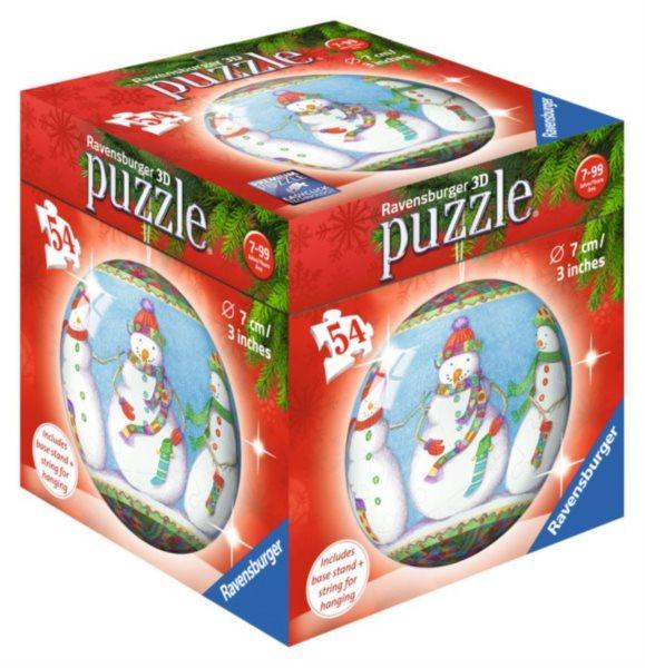RAVENSBURGER Puzzleball Vánoční baňka sněhuláci 54 dílků