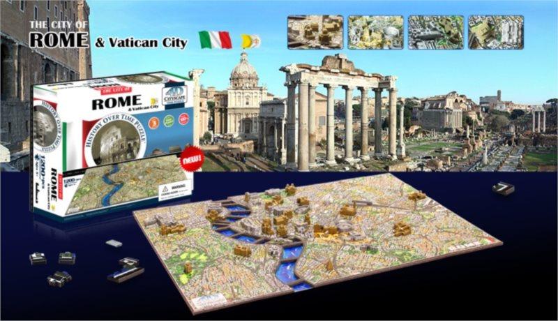 4D PUZZLE Cityscape Time panorama Řím a Vatikán 1277 dílků