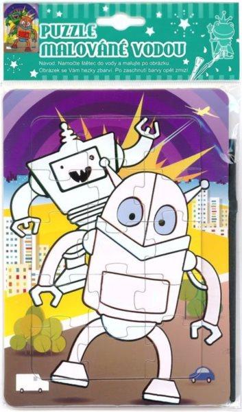 Puzzle s vodním malováním 15 dílků - Roboti