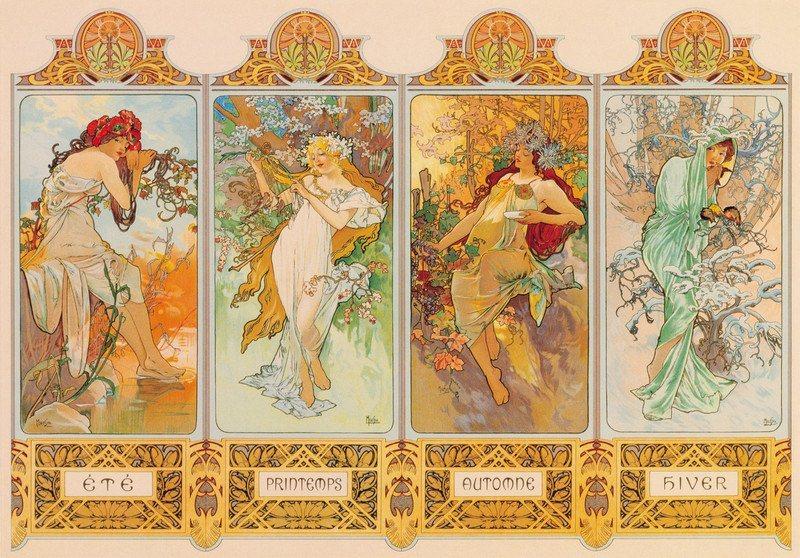 Puzzle ZDEKO 2000 dílků - Alfons Mucha, Roční období, 1896