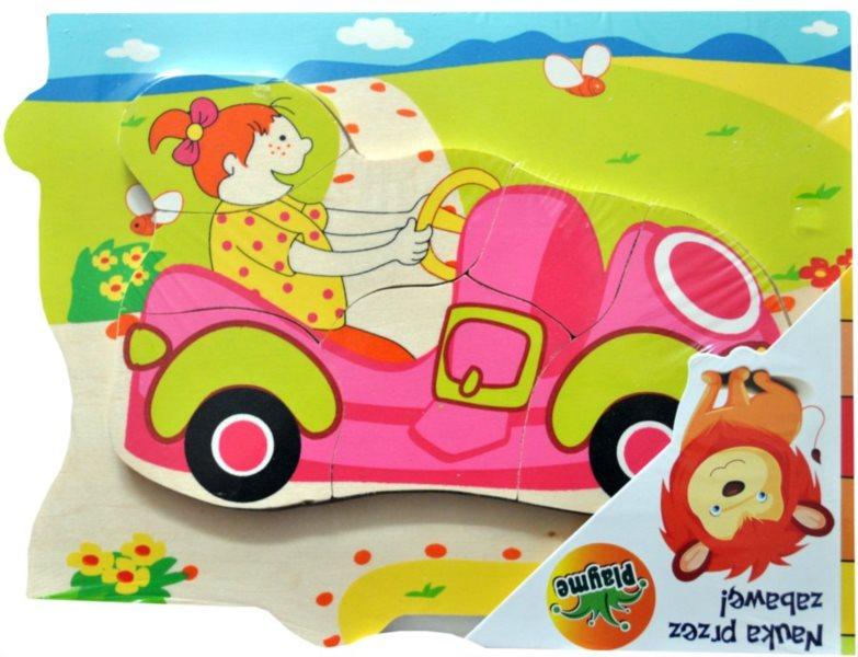 PLAYME Dřevěné vkládací puzzle Růžové autíčko