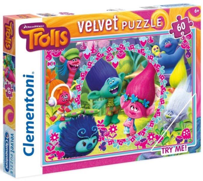 CLEMENTONI Sametové puzzle Trollové 60 dílků