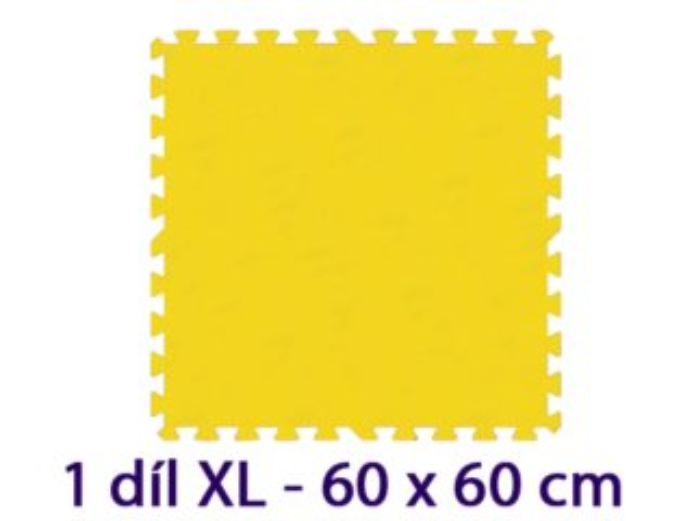 Pěnový koberec MALÝ GÉNIUS - XL 1 dílek, 8mm, žlutý (díl 60cm)